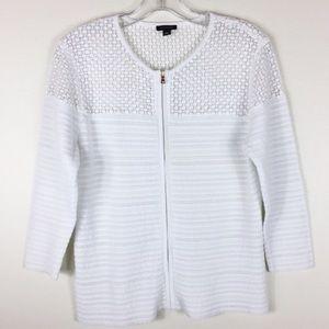 Ann Taylor white zip cardigan sweater EUC